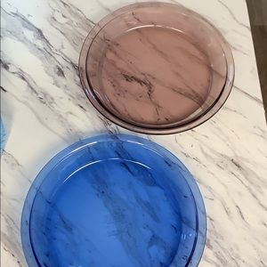 Pyrex pie (Lot of 2) pans amethyst and blue. Rare